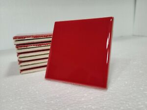 Red Ceramic Tile 4x4 in 4.25 inch Subway Vintage Mid Century Modern 10 pc Box
