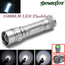 3ModeS Zoomable 15000 LM T6 LED Silver Flashlight Torch Lamp Super Bright 18650
