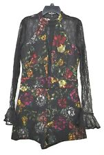 Guess Womens Black Lace Floral Laken Choker Romper Stretch Concealed Back Zip S