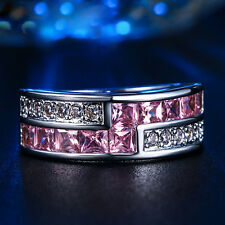 cut simulated pink birthstone wedding ring Majestic S925 white gold plate square
