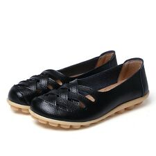 Womens Ladies Slip On Leather Comfort Work Summer Casual Loafers Shoes Sizes 3-9