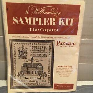 "Williamsburg SAMPLER KIT ""The Capitol"" Cross Stitch Kit VTG Paragon Needlecraft"