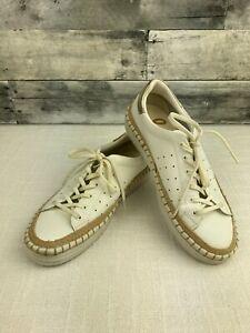 Sam Edelman Kavi White Gold Leather Espadrille Sneakers - Womens 6.5 EUR 36.5