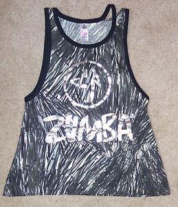 Zumba XS Tank Top Sleeveless Shirt Black Silver Logo Dance Fitness