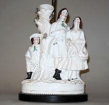 Antique Staffordshire England 3 Figure Grouping Porcelain Spill Vase Lamp
