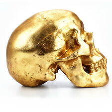 Cool Gold Resin Skull Human Head Money Box Piggy Bank Saving Pot Crafts for Home
