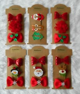 3 Christmas Hair Clips, Bows Holly Snowflakes Santa Sequins Red Flower sleepies