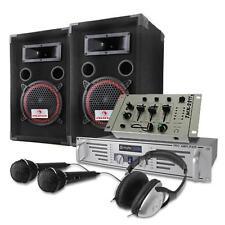 Sono Enceinte DJ PA 2 Voies Mixer Métal 3/2 Canaux Micro Dynamique Casque 1000W