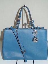 NWT Michael Kors Cynthia Medium Satchel Saffiano Leather Steel Blue