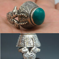 Antique Wonderful Ottoman Empire Unique Silver ring With Two Ram 7 #A111