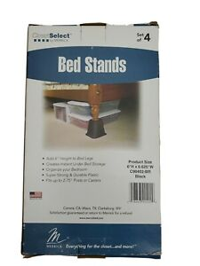 """Closet Select by Merrick Set of 4 Bed Stands Risers Adds 6"""" Height to Bed Legs"""