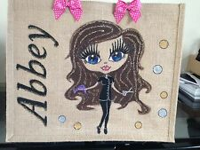 PERSONALISED LARGE HAND PAINTED JUTE BAGS ANY NAME OR DESIGN BEACH SCHOOL DANCE