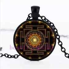 Sri Yantra Photo Cabochon Glass Black Chain Pendant  Necklace