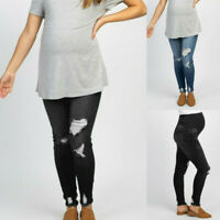 Women Pregnant Jeans Maternity Pants Solid Denim Trousers Prop Belly Leggings