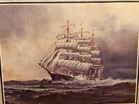 "Vintage Nautical Ship at Sea Print Todt Framed Signed Glass Cover Wood Frame 21"""