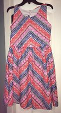 NWT Girls Rare Editions Sleeveless Pink/Orange/Blue Open Back With Bow Dress 14