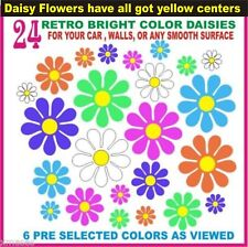 Daisy car decal flowers Vibrant (60's retro)colors with yellow centers.24 decals