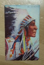 Postcard Native American Indian Chief Wolf Robe in Headdress w/ Bow & Arrows
