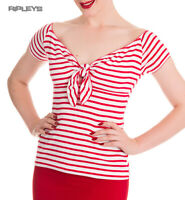 HELL BUNNY Shirt 50s Pin Up Top DOLLY Stripe Sailor Red/White All Sizes