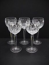 "Waterford Irish Crystal LISMORE 7 3/8"" Wine Hock Glasses / Set of 5"