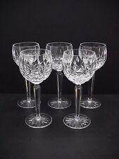 "Waterford Irish Crystal LISMORE 7 3/8"" Wine Hock Glasses / Set of 5"