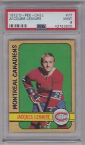 1972/73 O-PEE-CHEE JACQUES LEMAIRE CARD #77 PSA 9 MINT CONDITION & WELL CENTERED