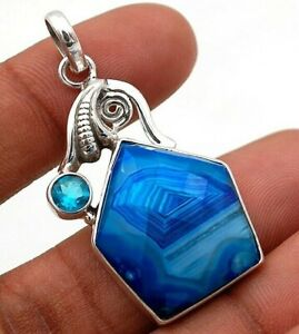Natural Botswana Agate 925 Solid Sterling Silver Pendant Jewelry NW4-9