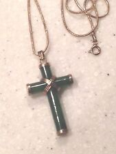 GOlD WASH STERLING &  CELEDON JADE CROSS PENDANT W/ STERLING CHAIN NECKLACE
