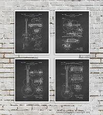 Vintage Gibson Electric Guitar Set of 4 Posters Black White Music Studio Decor