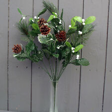 Artificial Mistletoe and Festive Frosted Greenery Bush - Christmas Flowers