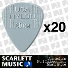 20 x Jim Dunlop Nylon Standard Greys .60mm Guitar Picks Plectrums 0.60 Grey
