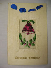 VINTAGE EMBOSSED CHRISTMAS POSTCARD W/EMBROIDERY BELL AND RIBBONS