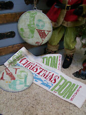 """NWT 6"""" x 10' RED GREEN Printed PEACE Merry CHRISTMAS Noel Ribbon Garland Roll"""