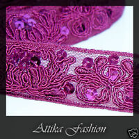 Magenta EMBROIDERED SEQUINED Shiny Silk Organza Mesh RIBBON TRIM Clothing Sewing