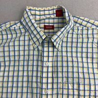 Izod Button Up Shirt Mens XL Blue Yellow Check Short Sleeve Casual
