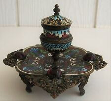 Antique French Champleve Footed Inkwell Jeweled Bronze Filigree Red Glass Cab