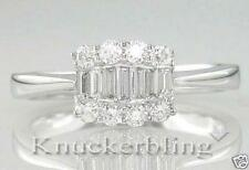 Baguette Very Good Cut Natural White Gold Fine Diamond Rings