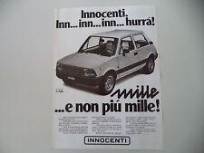 advertising Pubblicità 1980 INNOCENTI MINI MILLE 1000