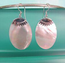 """1 1/2"""" White Mother of Pearl Shell Handmade 925 Sterling Silver Dangle Earrings"""