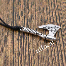 Men Slavic Axe Silver Viking Vintage Necklace Leather Black Chain Statement Gift