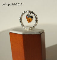 Cognac Beautiful Baltic Amber Heart Ring with Silver 925