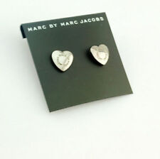New Marc by Marc Jacobs Smooth & Shiny Silver Heart Stud Post Pierced Earrings
