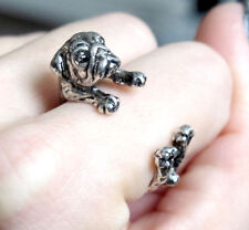 Adjustable Pug Ring In Gunmetal Color Dog and Puppy Lovers Fashion Jewelry AR-3