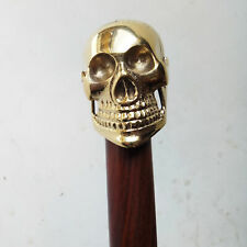 Brass Brown Wooden Walking Cane Skull Head Handle Stick Vintage Handmade Gift
