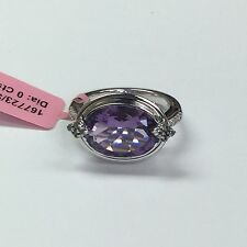 JWBR 925 Sterling Silver Cocktail Ring- Purple Amethyst and CZ Stones 6.25-9.5