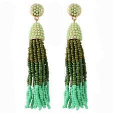 Boucles d'Oreilles Clous Doré Tassel Pompon Mini Perle Multicolore Vert XX22