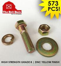 573 PCS Grade 8 Hex Cap Screw Bolt, Hex Nut, Flat & Lock Washers Assortment Kit