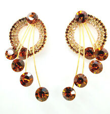 Sparkly Brown Crystal Gold Plating Yellow Rhinestone Dangle Ear Stud Earring