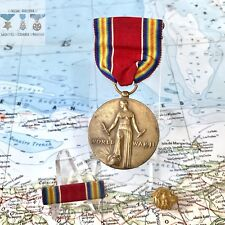 WWII US VICTORY MEDAL RIBBON BAR WARTIME PLASTIC HONORABLE DISCHARGE LAPEL PIN