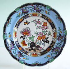 Antique Staffordshire Scalloped Blue Border Poly Enameled Transfer Plate c1830